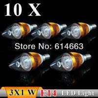 10PCS  E14 3w AC85-265V  white / warm white Sharp bubble LED Bulb Light Candle Light  strength  power  Free Shipping