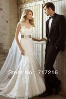 New Arrival Lace Wedding Dresses OEM Factory Price Custom Made Hand Made Flower Backless Long With Ribbon Belt Bridal Dress