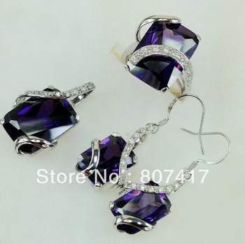 Romantic Wholesale fashion Amethyst crystal oblong 925 silver heart set (ring/earring/pendant) 834set SZ#6 7 8 9