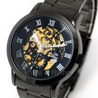 2014 Vintage Style Titanium Black mens Automatic Skeleton Mechanical Mens Vintage watches