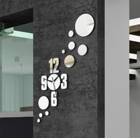 Min order 15 usd ( Mix items)The sun shape Mirror wall stickers clock fashion 2013 clocks fashion personalized gifts