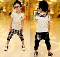 Free Shipping 2014 Children's summer wear suits  Boy/Girl Fashion sports Sets T-shirt+Pants  2pcs  Children's clothes