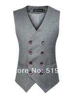 man spring 2014 mens designer suits men fitted vest male  waistcoat double breasted vest black grey men slim suit vest