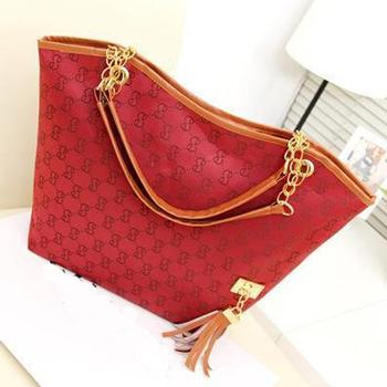 New Hotsale brand leather handbag for women vintage women shoulder bag chains black canvas totes bags designer women satchel