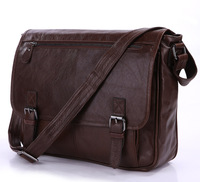 Real natural100% Cowhide Leather Briefcase shoulder Business leather bag for man messenger bags brown color 2014 NEW Tote bags
