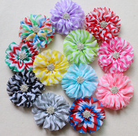 "Chevron chiffon flowers top selling chiffon flowers 11 colors 3.3"" chevron shabby flowers with rhinestones"