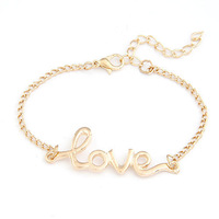 2014 New Design Korea 4 Colors Vintage Popular Elegant Charm Simple Delicate Metal Love Bracelets jewelry wholesale Hot salePD26