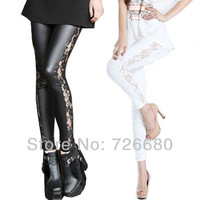Free Shipping! Christmas Gifts Fashion 2015 New Women Lady Slim Faux Leather Leggings Side Panel Lace Sexy 121-0203