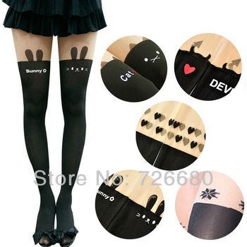 Free Shipping! Fashion 2013 New Women Pantyhose Cute Tattoo Cat Rabbit Heart Snow Devil False High Silk Stockings 121-0026