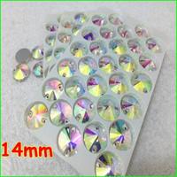 144pcs 14mm round Crystal AB Silver base Sew on stone flatback rivoli sew on crystal rhinestone 2holes
