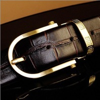 Drop shipping, Gold buckle  Men's Brand Leather Belts ,leather business belt brown, gauffre cowhide belt