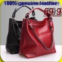 Genuine leather Women handbags chain knitted bag Shopping Bags women's bucket bag tote bags women messenger handbags new 2015