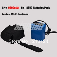 Free shipping Blue Universal 9600mAh 8.4v Li-ON 18650 Battery Pack For 1200lm - 5000lm T6 U2 P7 LED Bike Lamp Light