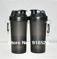 Free Shipping  + The New  Water Bottle  Special  Black 3 In 1  Protein Powder Shaker Bottle +  600ML