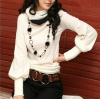 Color-lantern sleeve sweater bottoming shirt long sleeve