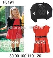 2014 New Fashion Spring Girls clothing set Girl dresses suit Children Autumn 2pcs sets(Black Knit cardigans+Kids Red dress+belt)