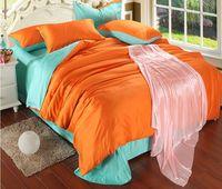 Patchwork color purple comforter set king size plain dyed bedclothes satin/cotton bedding set queen luxury duvet cover
