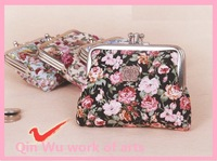 coin purse coin purse coin case  women's ancient  Mini charm coin wallet with rose Cosmetic Bag/small wallet handbags