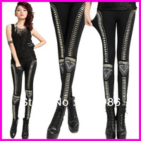 Free Shipping Fashion Punk Gothic Rhinestone Leggings Vintage Patchwork Stretch Skinny Pants Trousers