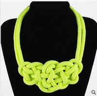 Hot Sale Handmade Fluorescent Rope Knitted Collar Chokers Statement Necklaces Neon Jewelry KCX-12