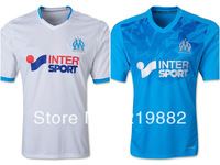 Free shipping 13-14 Marseille Away Blue soccer jersey best thai quality  Football Uniforms jerseys , Embroidered logo