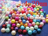 Wholesale Mixed Acrylic Bubblegum Chunky Pearl Imitation Round Spacer Beads 4/6/8/10/12/14/16/18/20mmFor Fashion Jewelry Making