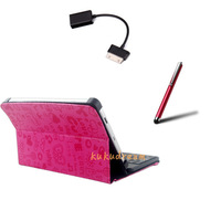 USB Keyboard Case with Stand and stylus pen for Samsung Galaxy Tab 2 7inch P3100 P3110 P3113 P3108 P6200 with 30 Pin USB Adapter