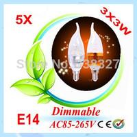 5X CREE Shipping High power E14 3x3W 9W Dimmable AC85~265V LED Candel Light LED bulb lamp LED spotlight