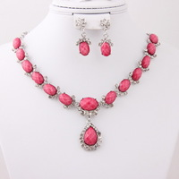 New Arrival 4 Colors Beads Costume Resin Necklace Sets Silver Gold Plated Fashion Crystal Women Costume Resin Jewelry Sets