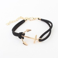 2014 New! Errope and America Lovely Simple Anchor Charm Leather Bracelet Fashion Jewelry For Women Men K46