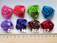 50pcs Colorfull Satin Ribbon Roses Applique Roses Bud Button Pad for Handcraft Make 35mm - 40mm