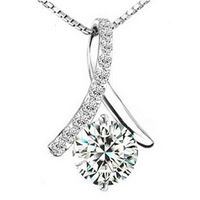 Wholesale Fashion Lady Jewelry High Quality 925 Silver Necklace With Austrian Crystal Pendant Platinum Plated