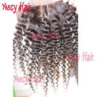 Free shipping 3 way part closure density 120% natural color hair Closure,kinky curly closure 3.5X4inch human hair lace closure,