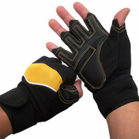 free shipping Fitness gloves lengthen wrist support sports gloves semi-finger gloves weight lifting barbell dumbbell