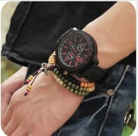 Vintage fashion big circle dial student watch trend unisex table tape fashion table male