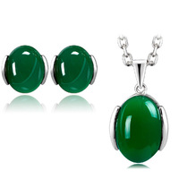 Green Agate silver set free shipping