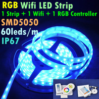 5M 300led 72W Waterproof IP67 SMD5050 Flexible RGB Strip + 2.4G Wifi Controller + RGB Controller LED Strip Light