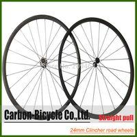 Straight pull 24mm clincher bicycle wheels 700c carbon fiber road bike racing wheelset