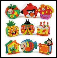 18 pcs/lot Wholesale Handmade Eva Pen Holder Eva Foam Craft Kits Kids DIY Container for Pens Educational toys for Children