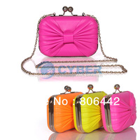 2013 Hot Sale Mini Fashion Candy Color Bowknot Clutch Bags/ Evening Bags With Chians / Small Handbags 16150