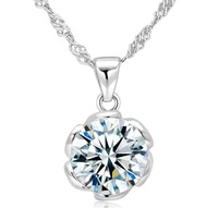 Free Shipping 2013 Hot  925 Sterling Silver Flower  Zircon Necklaces & Pendants  For Women Gift Nickel Free