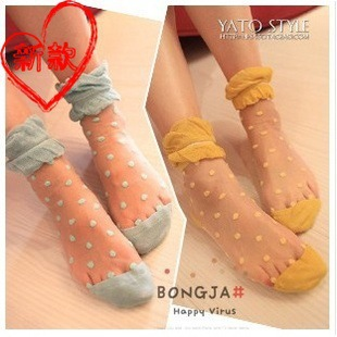 Free shipping 1 lot=6pairs=12pcs high quality wrap core silk women's candy sock Dot socks lace socks one lot one color