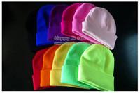 free shipping knitted beanie warm winter cap ski skull hat sets of headgear fluorescence cap