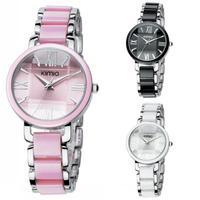 KIMIO Watch Roman NumberKorean Fashion KIMIO Stainless Steel New White Ceramics Wrist Watch
