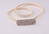 fashion gold waist decoration metal thin all-match belt female silver rhinestone elastic belly chain belt