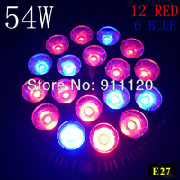 4X 54W E27 85-265V High power 12red 6Blue LED Grow light for flowering plant and hydroponics system Free Shipping