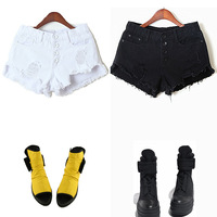 Women High Waist Bleach Out Black White Frayed Hem Distroyed/Distressed/Ripped Denim Jeans Shorts