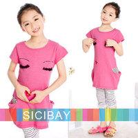 new summer pink love sleeping beauty design girl dresses baby kids short-sleeve fashion clothes girls dress K0379