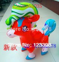 Large horse fur child inflatable toys fur pvc toy