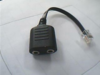 Headset Buddy Adapter: PC Headset to CISCO Phone Jack,  Dual 3.5mm to RJ9 / RJ11